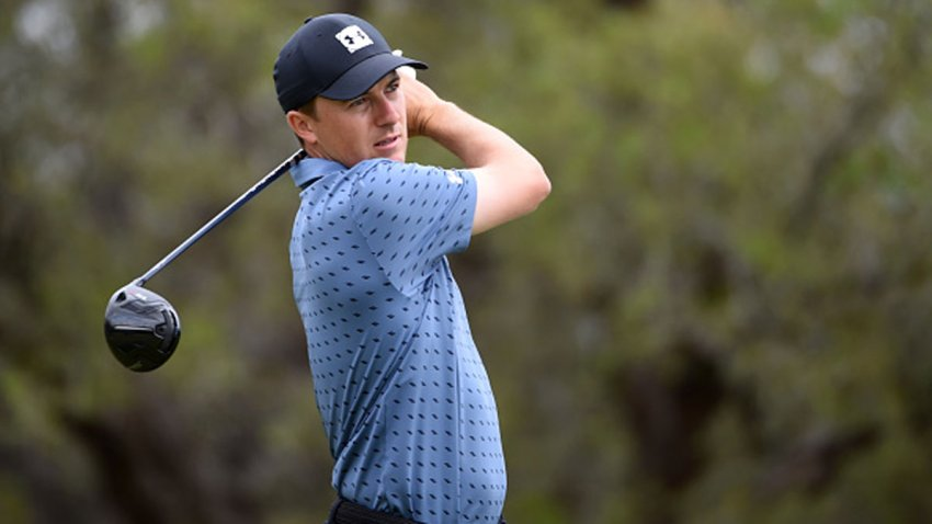 Jordan Spieth plays his shot from the second tee during the final round of Valero Texas Open at TPC San Antonio Oaks Course on April 4, 2021 in San Antonio, Texas.