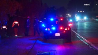 Chula Vista police respond to the scene of a shooting on Monday, April 5, 2021.