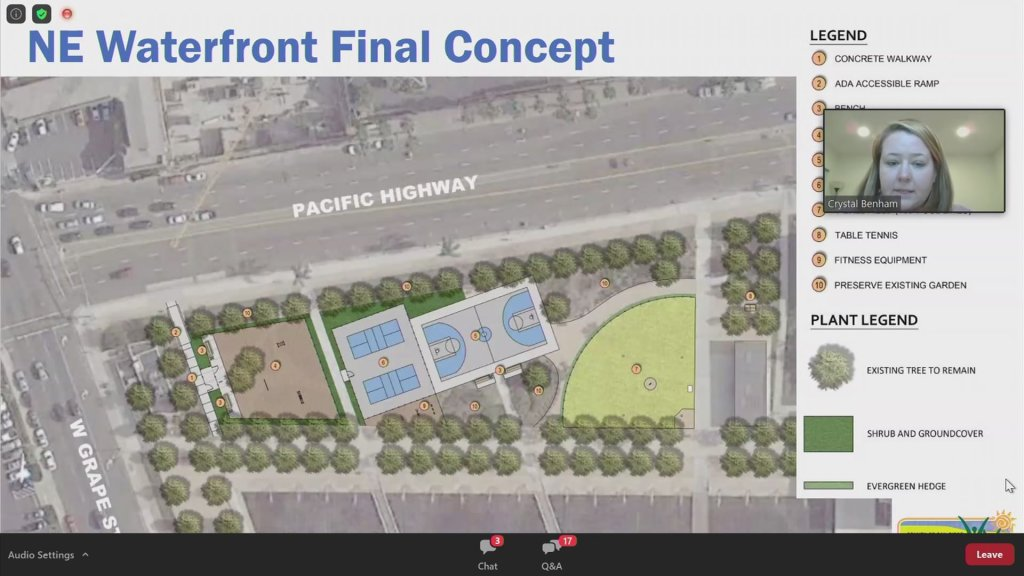 A rendering of what the northeast corner of Waterfront Park could look like by Summer of 2022.