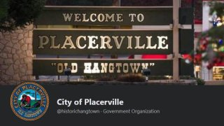 This screenshot from the City of Placerville's Facebook page shows the town's logo that includes a noose.