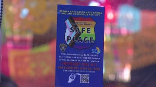 A Safe Place sticker is placed at the front of Hillcrest restaurant Urban Mo's.