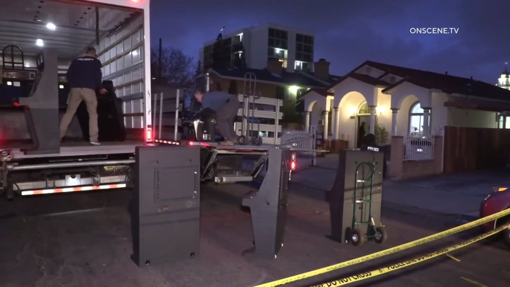 Several slot machines were confiscated in a large-scale operation in San Diego on Wednesday, April 14, 2021.