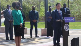 Mayor Gloria announcing his Empowerment Policy Plan for San Diego's Black community.