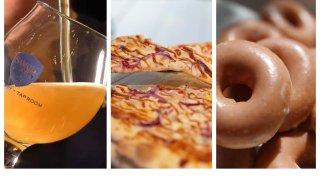 Left to right: Samuel Adams beer, Landini's Pizzeria, Krispy Kreme donuts.