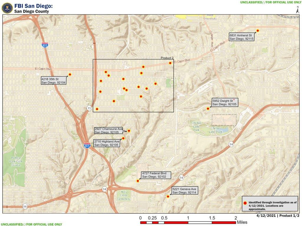 locations raided by FBI