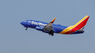 A Southwest Airlines Boeing 737-73V jet departs Midway International Airport in Chicago, Illinois, on April 6, 2021.