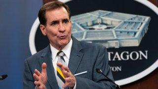 Pentagon spokesman John Kirby speaks during a briefing at the Pentagon in Washington, Wednesday, May 5, 2021.