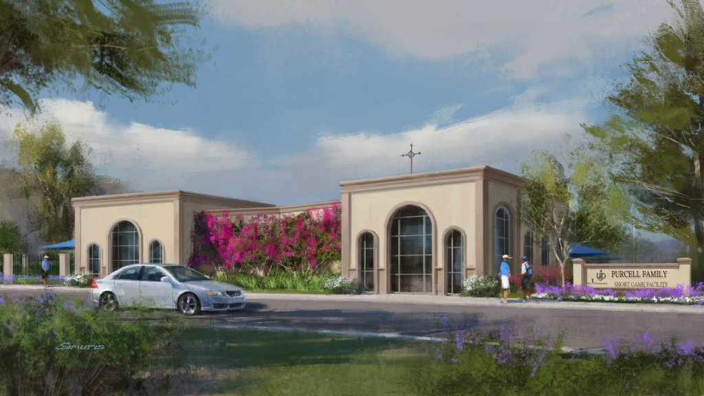 An artist's rendering of what the entrance of a new golf facility could look like at the University of San Diego.