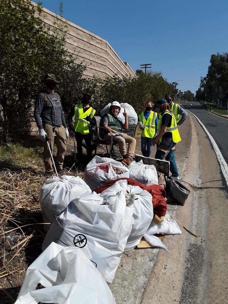 Volunteers posed for a picture at SR-94 cleanup.