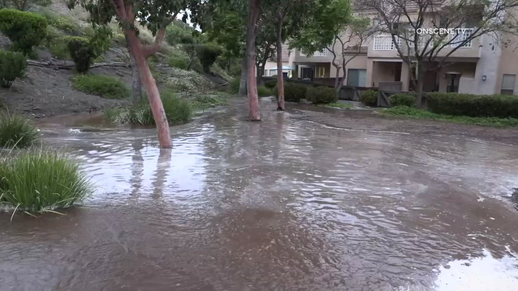 Flooding at an apartment complex in Rancho San Diego.
