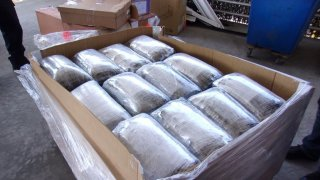 Nearly 2,500 pounds of methamphetamine hidden in a shipment of medical supplies was discovered by USCBP.