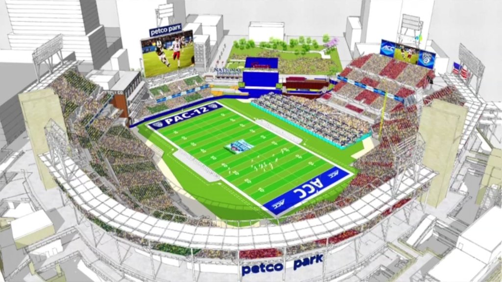An artist's rendering of what the football field for the Holiday Bowl would look like at Petco Park.