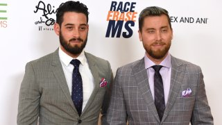 In this April 20, 2018, file photo, Michael Turchin, left, and Lance Bass arrive at the 25th annual Race to Erase MS Gala at The Beverly Hilton hotel in Beverly Hills, California.