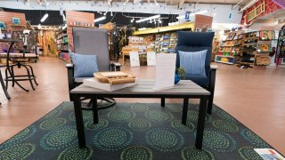 Patio furniture is seen on display at Valley View Farms in Cockeysville, Md.