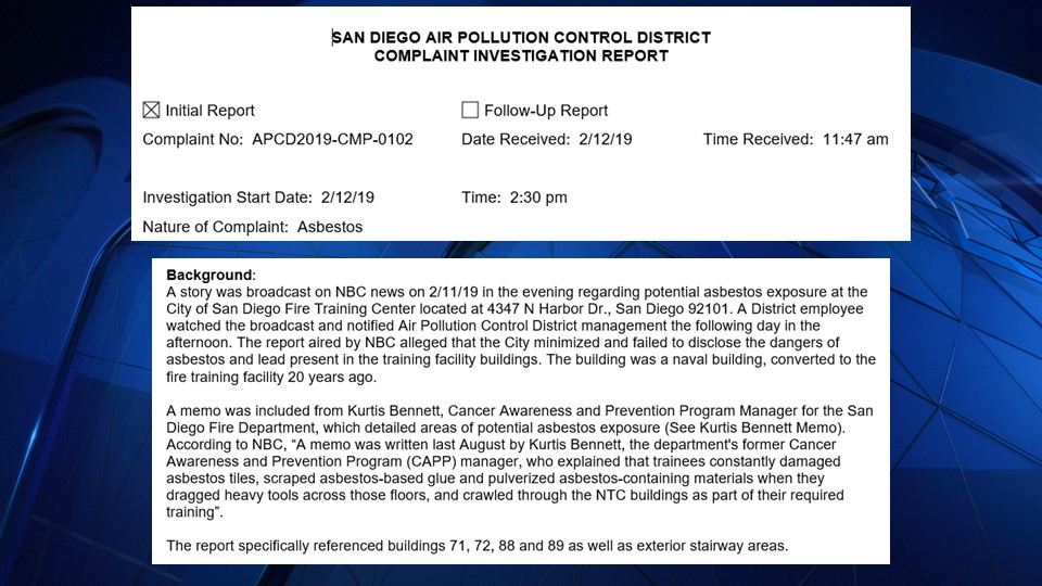 Images from the APCD Complaint Investigation Report regarding asbestos at the San Diego Fire Training Academy