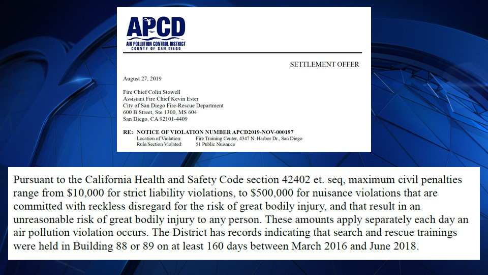 A settlement offer letter from the APCD to the City of San Diego spells out the possible fines the City could face.