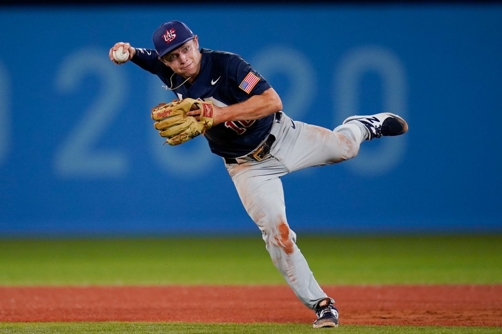 United States' Nick Allen throws during the 3rd  inning of a shot   crippled  against Israel astatine  the 2020 Summer Olympics, Friday, July 30, 2021, successful  Yokohama, Japan.