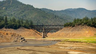 A section of a drought-stricken Shasta Lake sits mostly dry.