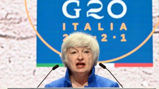 US Treasury Secretary Janet Yellen speaks during a press conference during the G20 finance ministers and central bankers meeting in Venice, on July 11 2021.