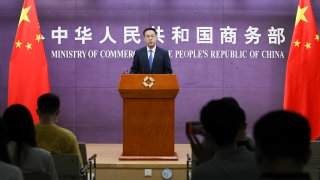 Gao Feng, spokesperson of the Ministry of Commerce (MOFCOM), speaks at MOFCOM's regular press conference on July 8, 2021 in Beijing, China.