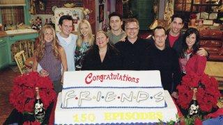 Pictured (l-r): Jennifer Aniston, Matthew Perry, Lisa Kudrow, executive producer Marta Kauffman, Matt LeBlanc, executive producer Kevin S. Bright, executive producer David Crane, David Schwimmer, Courteney Cox.