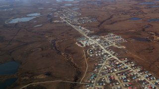 An aerial view of Bethel, AK on May 13, 2014. Bethel, which has a population of about 6,000, and is the largest bush town, serves as one of the Bypass Mail hubs.