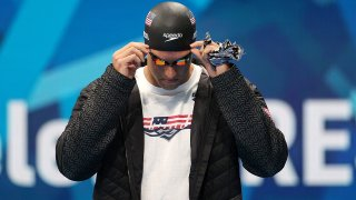 Caeleb Dressel of the United States arrives before competing in the men's 100m freestyle semifinal.