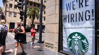 starbucks we're hiring sign