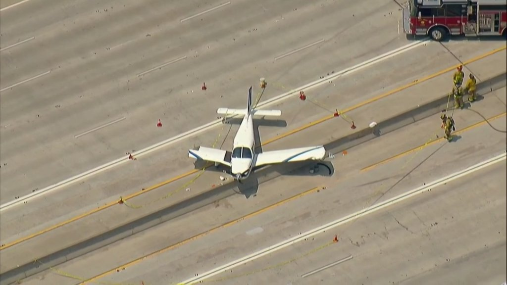 The small aircraft appeared to be missing half of its right wing.
