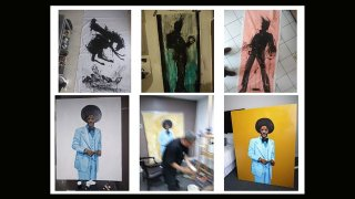 The forged art included paintings of a black-silhouetted figure known as the Shadowman, which was a recurring motif in artist Richard Hambleton's works (top). The series of photographs at the bottom were obtained by law enforcement from Harrington's files and depict a forgery in progress.