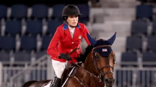 Jessica Springsteen, competing with Don Juan van de Donkhoeve, at the Tokyo Olympics team qualifier at Equestrian Park, Tokyo, Aug. 6, 2021.