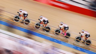 pursuit qualifying of the Track Cycling on Day 10 of the Tokyo Olympics 2021 games at Izu Velodrome on Aug. 02, 2021, in Izu, Shizuoka, Japan.