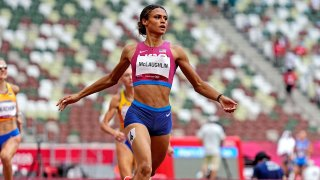 Sydney McLaughlin competes