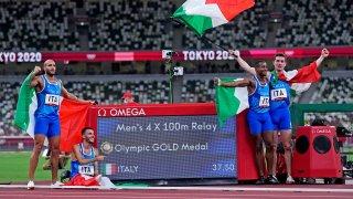 Italy's gold-medal winning 4x100 relay team