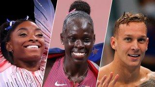 From left: Team USAs Simone Biles, Athing Mu and Caeleb Dressel.
