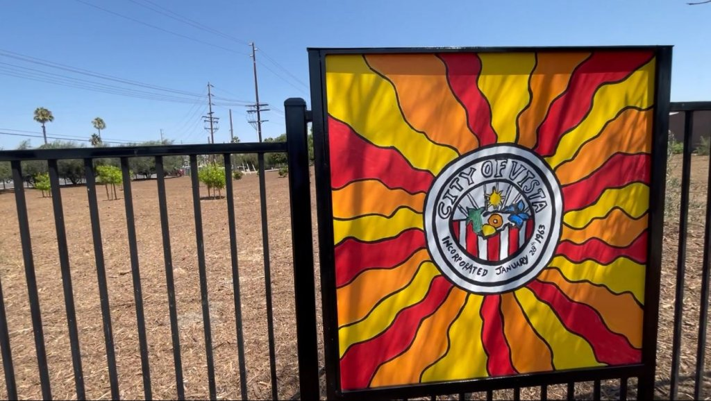 The City of Vista logo, painting by the Boys & Girls Club of Vista.