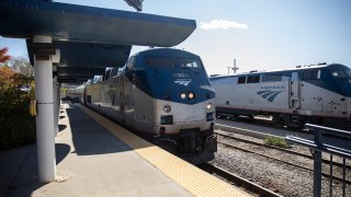 An Amtrak train in Portland, Oregon