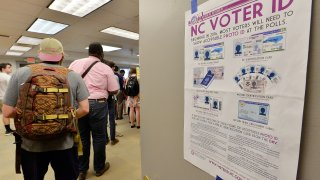 RALEIGH, NC - MARCH 15: North Carolina State University students wait in line to vote in the primaries at Pullen Community Center on March 15, 2016 in Raleigh, North Carolina. The North Carolina primaries is the state's first use of the voter ID law, which excludes student ID cards. Wake County was among the highest use of provisional ballots, where those voters had home addresses on or near campuses. The Board of Elections will review voter's reasonable impediment form submitted with their provisional ballots to determine if their vote counts. The state's voter ID law is still being argued in federal court.
