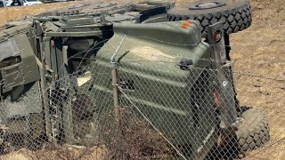 A military truck crashed off the 215 Freeway in Menifee.