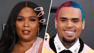 Lizzo (left) and Chris Brown (right)