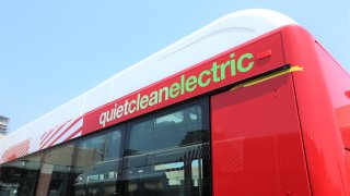 An image of San Diego MTS' electric rapid bus.