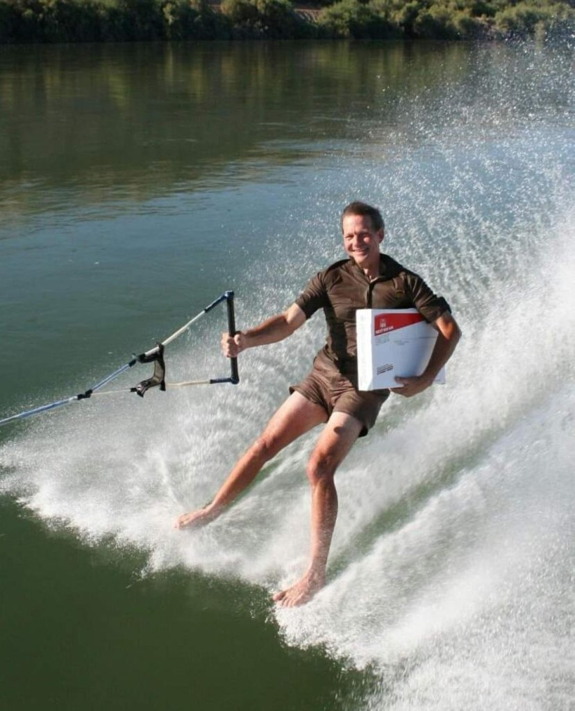 An undated image of Steve Krueger water skiing.