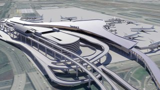A rendering shows planned improvement to the LAX terminal area.