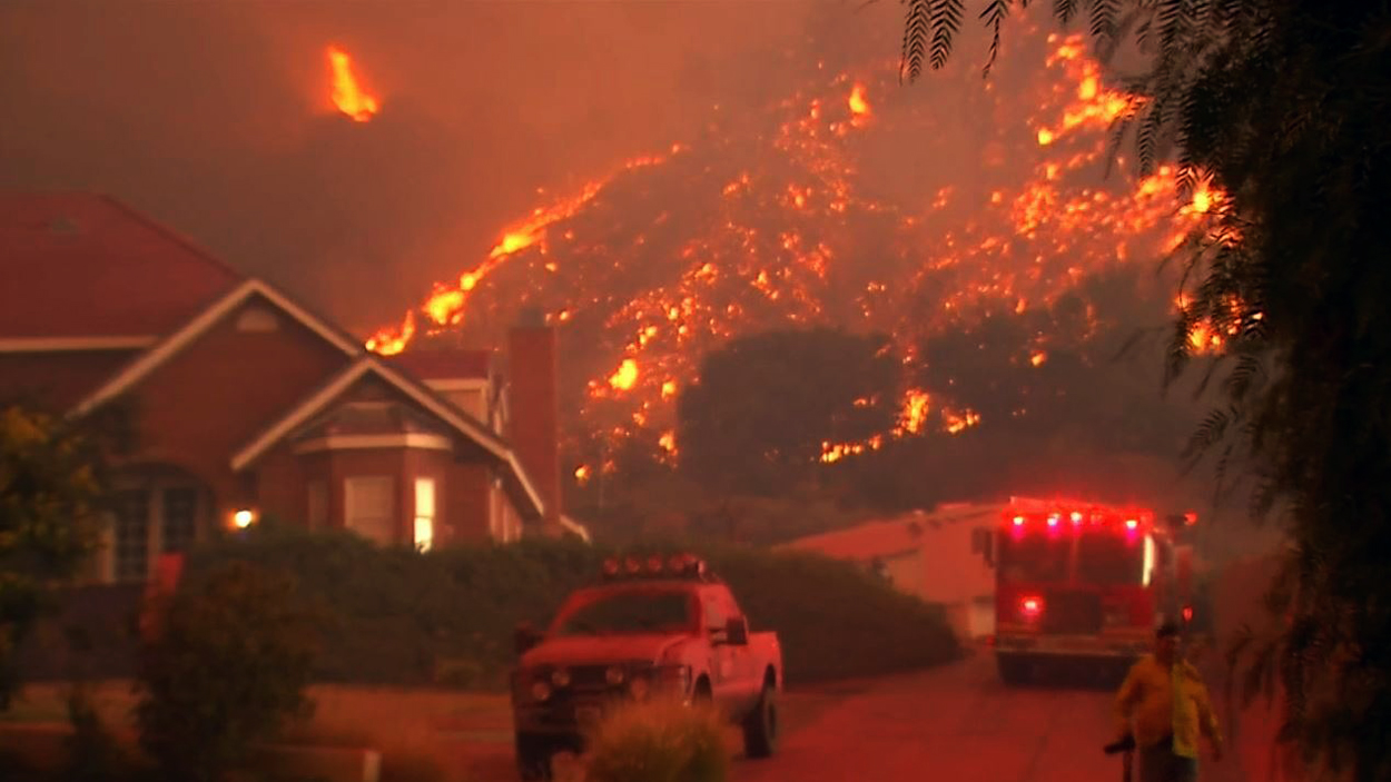 The Sand fire burns Saturday July 23, 2016 near homes north of Los Angeles.