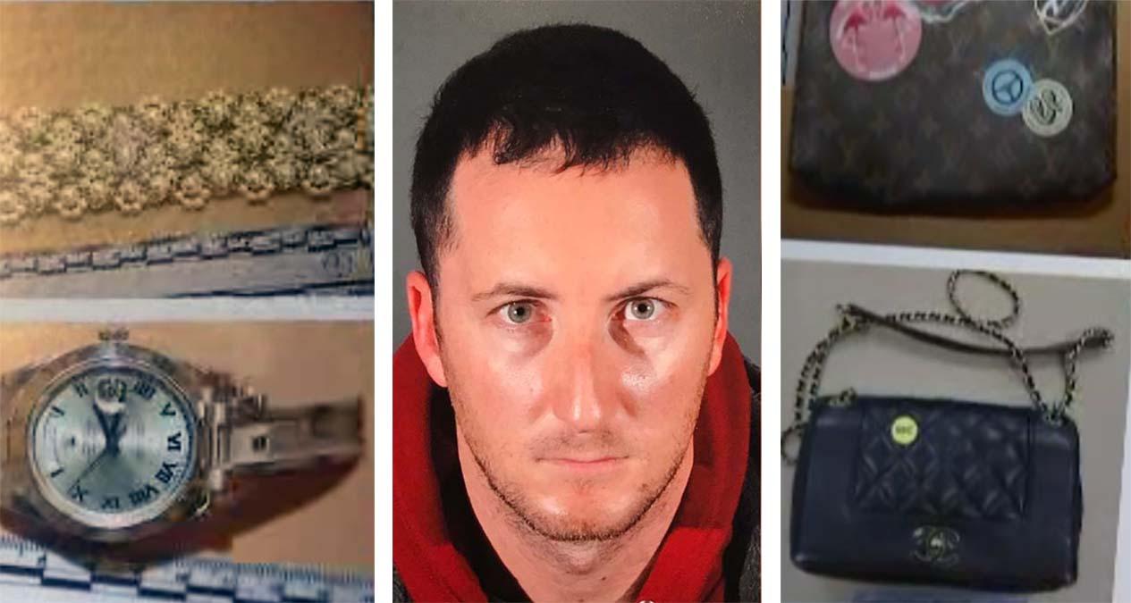 Los Angeles police announced the arrest of Benjamin Eitan Ackerman in a series of celebrity home burglaries.