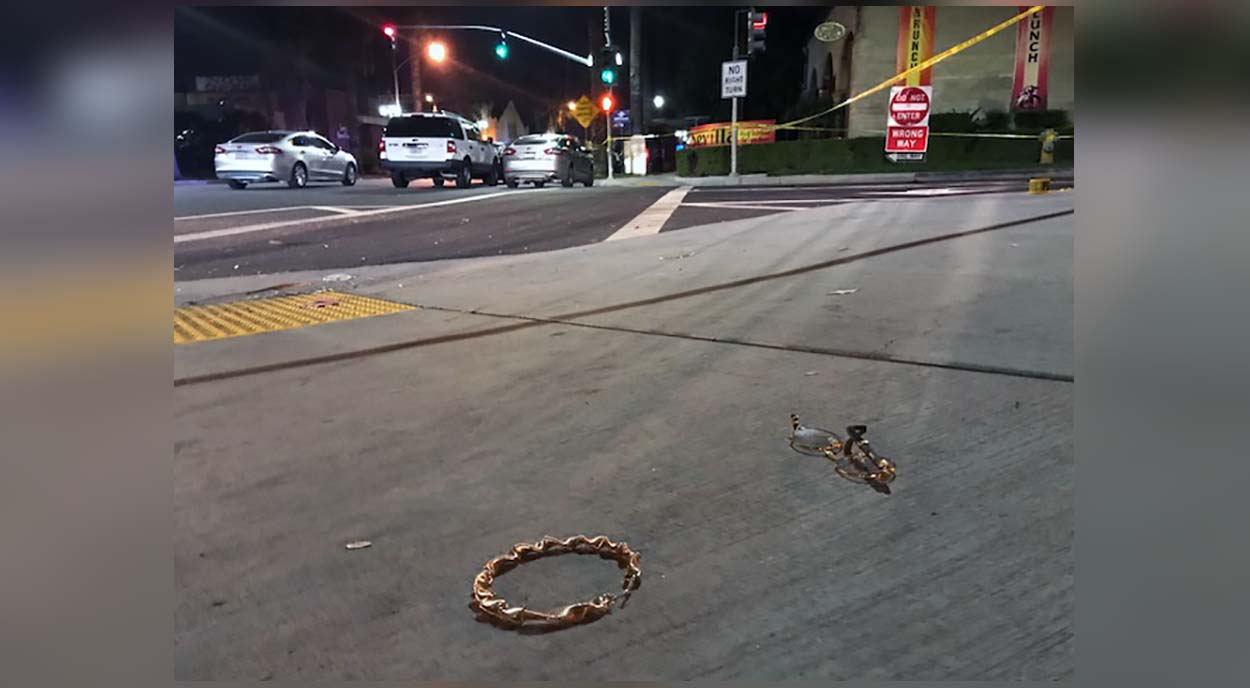Glasses, a bracelet and other items were scattered on the ground outside a Riverside nightclub after a shooting early Monday Oct. 29, 2018.
