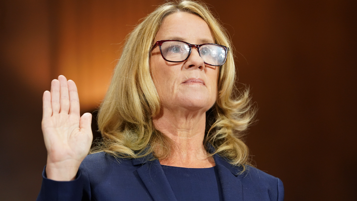 This Sept. 27, 2018, file photo shows Christine Blasey Ford be sworn in prior to giving testimony before the U.S. Senate Judiciary Committee at the Dirksen Senate Office Building on Capitol Hill in Washington, D.C.