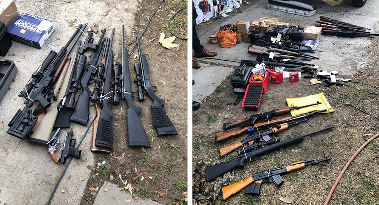 Laguna Beach Police released these photos of some of the weapons and other items seized at a Huntington Beach residence.