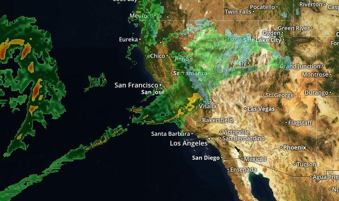 Radar shows rain moving into California Wednesday Nov. 28, 2018.