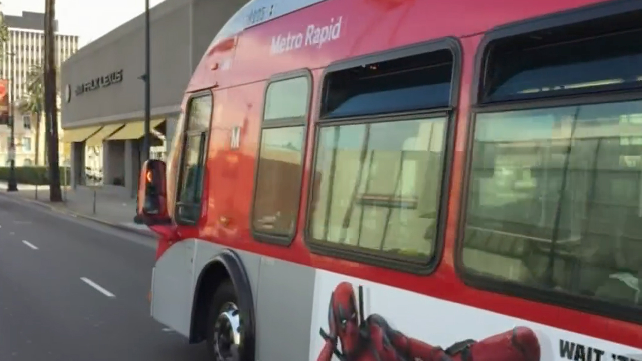 A Metro bus traveling in Los Angeles on Friday, Jan. 29, 2016.